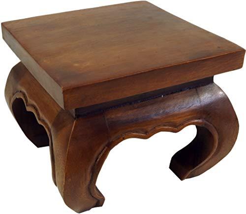 Guru-Shop Mini Tavolo da Oppio, Panca da Fiori in Legno Massello - Marrone 25x25 cm, Tavoli da Caffè Tavoli da Terra