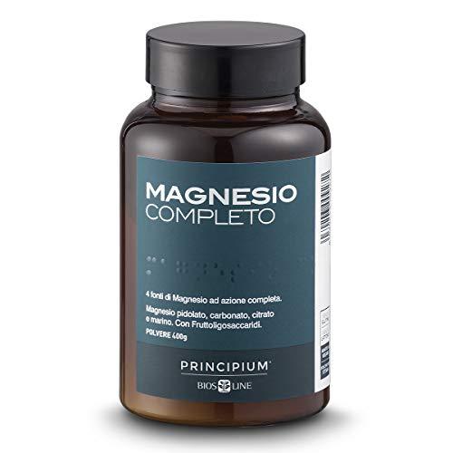 BIOS LINE Principium, Magnesio completo, Gusto agrumi, 4 fonti di magnesio ad azione completa, Integratore anti stress, Senza glutine e senza lattosio (400 g)