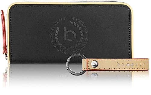 Bugatti Lido Geldbörse Damen Groß RFID - Frauen Geldbeutel mit Reißverschluss Lang - Damengeldbörse Langbörse Portemonnaie im Querformat, Schwarz
