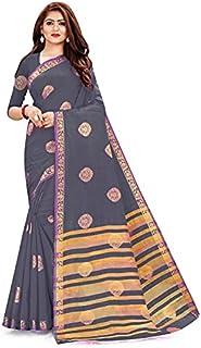 Neerav Exports Kanjivaram Tusser Silk Triangle Design Border And Chit Pallu (Grey)