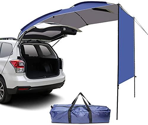 sZeao Coche Toldo, Portátil Impermeable Toldo Trasero para Coche/Pérgola/Tienda De Techo para SUV Minivan Hatchback Camping Viajes Al Aire Libre 5-6 Personas