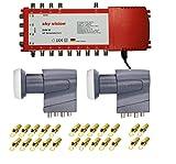 Sky-Vision - Conmutador múltiple 9/8 con fuente de alimentación para 8 participantes con 2 LNB Quattro 3D 4K UHD 8K y 24 conectores F