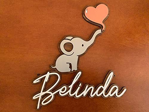Namensschild Elefant & Herz, personalisiert für Baby, Kind, Türschild, Holz Schild, Kinderzimmer, Wanddeko, Individueller, Baby-Name, Geschenk, Jungen & Mädchen, Babyzimmer Deko Wandschild Kindernamen
