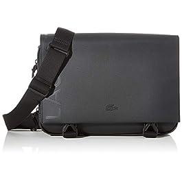 Lacoste – Petite besace noire homme en simili cuir L.12.12 (nh3132po) taille 23 cm