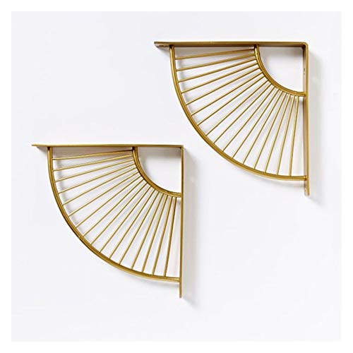 2 Stück Gold-Bodenträger Stativ 90 Grad-Winkel der Wand befestigten Regal Supporter-Klammer-Rahmen, Schmiedeeisen Halterung inklusive Schrauben (Fan-förmig) (Size : 15cm)