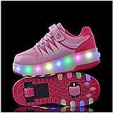 Patines Zapatillas de rodillos al aire libre Zapatillas de patín LED Zapatillas de patinaje deportivo luminoso Zapatillas de deporte para niños para niños Niños Junior Boys Girls Mujeres (Color: Azul,