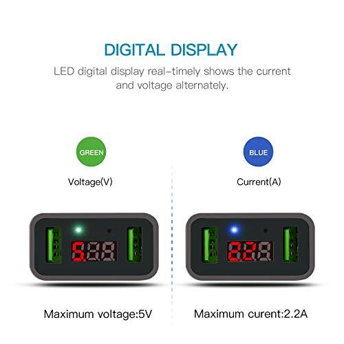 FEIGO USB Ladegerät 2-Port 5V/2.2A Wand Charger Netzteil mit LED Digitaler Anzeige US/EU Reise Stecker für Galaxy S7/Edge/S8/S9/Plus iPhone 6/7/8/Plus/X Bluetooth/Tragbar Geräte (Weiß)
