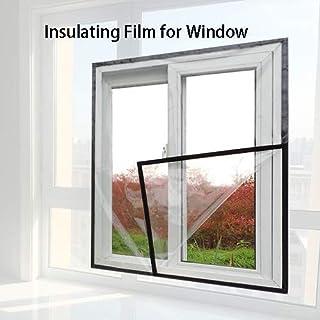 Película aislante para ventanas, sello de lona, resistente al viento, PVC, pieza de plástico, dormitorio de invierno, protección contra el frío, cálido, 15 tamaños (Color: Negro, Tamaño: 150x180cm)