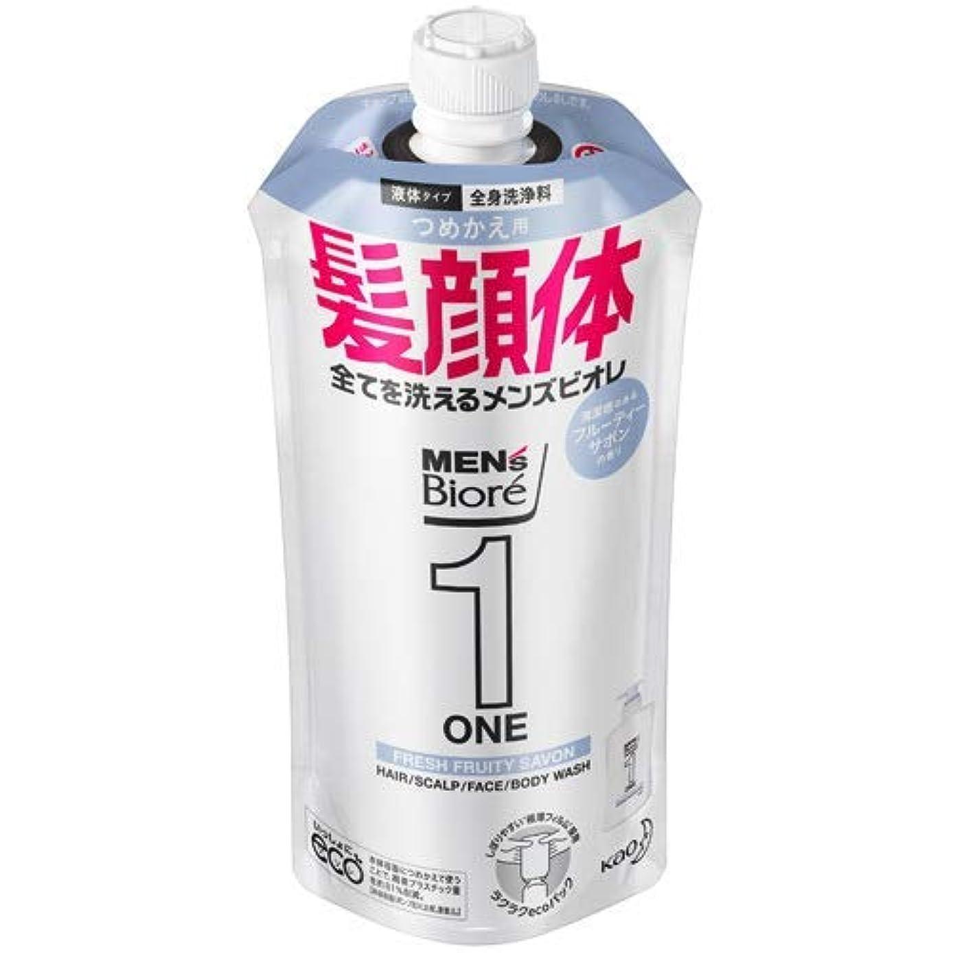 強化スラックアルプス【10個セット】メンズビオレONE オールインワン全身洗浄料 清潔感のあるフルーティーサボンの香り つめかえ用 340mL