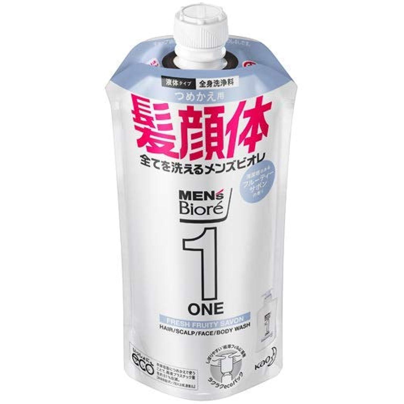 自分の力ですべてをする変成器画家【10個セット】メンズビオレONE オールインワン全身洗浄料 清潔感のあるフルーティーサボンの香り つめかえ用 340mL
