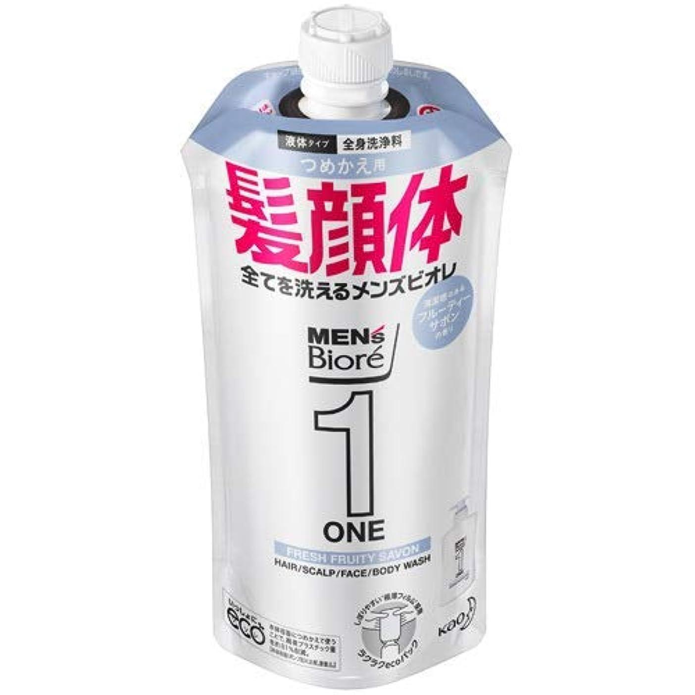 目を覚ます一月有名【10個セット】メンズビオレONE オールインワン全身洗浄料 清潔感のあるフルーティーサボンの香り つめかえ用 340mL