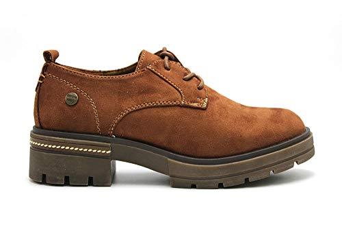 Niko Amore - Zapato Blucher de Antelina con Cordones y tacón, Suela de Goma, para: Mujer Color: Cuero Talla:40