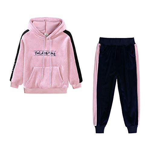 Kobay Kleinkind Kinder Baby Mädchen Jungen Langarm Solide Tops + Hosen Outfits Set Kleidung (2# Rosa, 2-3T)