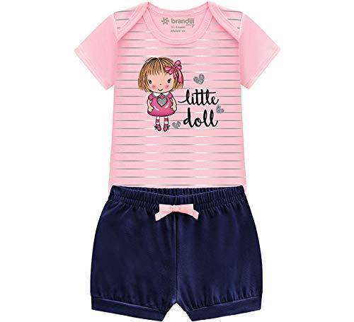Conj. Bebê Body Manga Curta Bonequinha Rosa e Shorts Tapa Fralda Babadinho Menina Brandili RN-G (G)