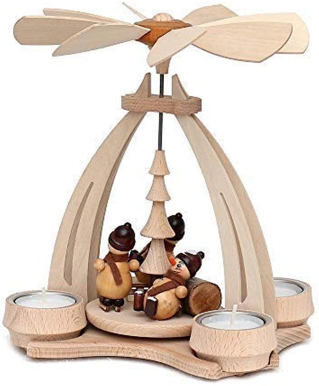 Unbekannt Sigro Erzgebirges Holz Tisch Pyramide mit Schneemann für 4Teelichter, 24x 18x 14cm, Holz, Beige, 14x 18x 24cm