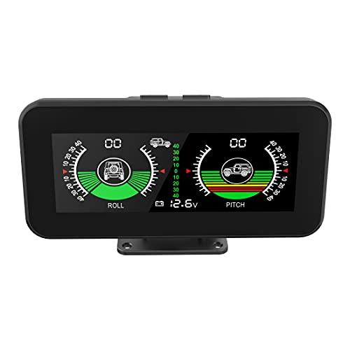 MR CARTOOL Medidor de inclinación para coche todoterreno con giroscopio integrado, CC 5 V-30 V, medidor de ángulo digital, modo dual con ajuste de brillo
