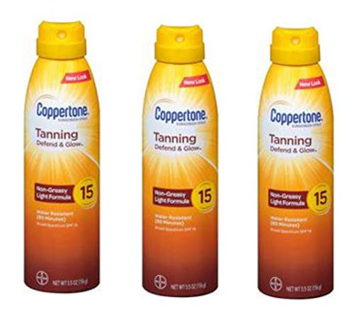 Coppertone Tanning Dry Oil Sunscreen Continuous Spray SPF 15 (5.5 Ounce) Pack of 3