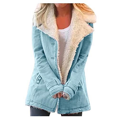 OutTop Fleece Lined Jacket Coats for Women Trendy Breasted Tie Dyed Winter Warm Lapel Button Down Lightweight Outwear (Solid - Blue, L)
