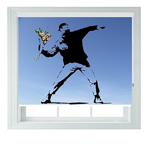Banksy Flower in verschiedenen Größen, Vinyl, Schwarz, Schlafzimmer, Rollo Jalousie für Badezimmer, Küche und Wohnwagen AOA®, 152 cm