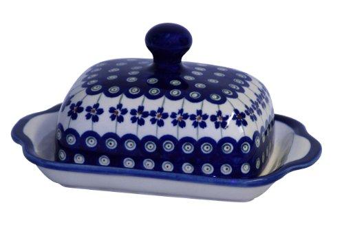 Original Bunzlauer Keramik Butterdose eckig für 1 Stück Butter (250g) Dekor 166a