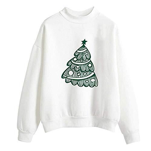 Damen Weihnachten Print Langarm Pullover 3D Druck Elegante Jumper Langarmshirt Tops Bluse Sweater Elegant Shirt Skew Neck Sweatshirt Party Tops (Color : H-White, Size : M)