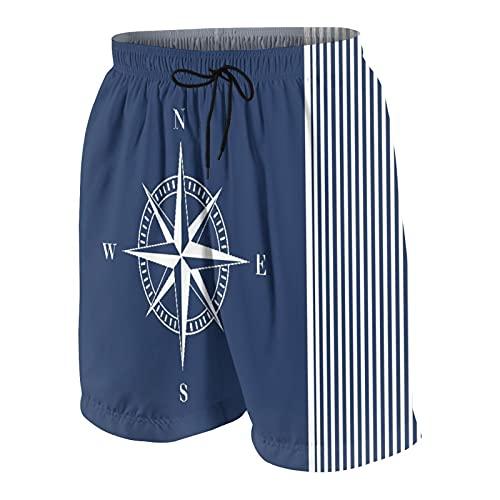 Troncos de baño Personalizados para Hombre,Azul Marino,Anclas,Rayas náuticas Azules con Estrella Blanca,Ropa de Playa,bañadores,bañadores,bañadores XXL