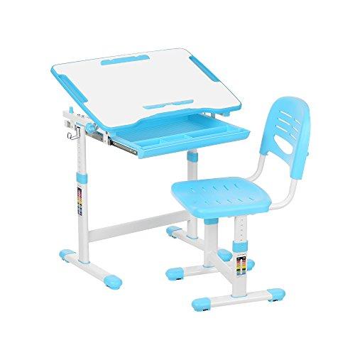 Juego de escritorio para niños con inclinación y silla con sujetarrollos de papel y portavasos, de Ikayaa, azul