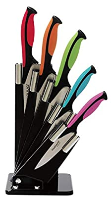 Kitchen Knife Block Set with Colour Coding - 6 Piece Coloured Knives Set - by Nouva from Nouva