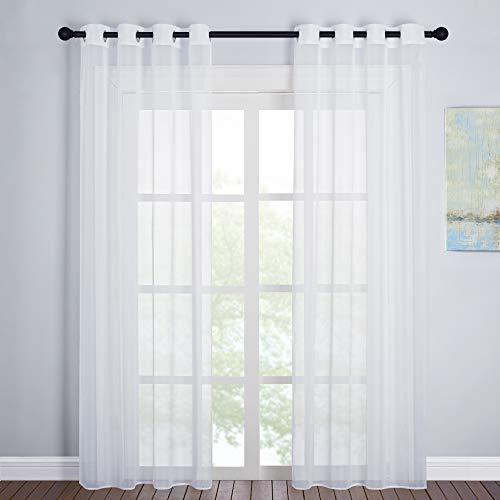 PONY DANCE Wohnzimmer Gardinen Modern 2er Set - Voile Vorhang für Schlafzimmer Dekoschals Luftige & Lichtdurchlässige Gardinen Weiss, H 220 x B 140 cm