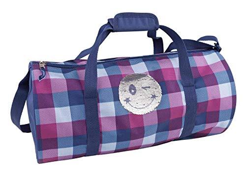 Depesche 10159 - Sporttasche Topmodel Smiley, mit Pailletten, blau