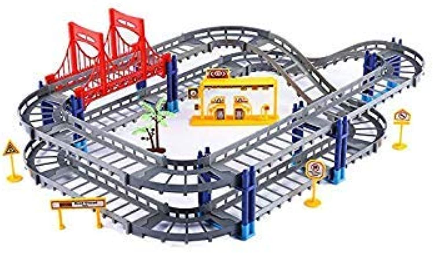 45pcs Electric Racing Car Kids Train Track Models Toy Baby Railway Track Racing Road Transportation Building Slot Sets 2 colors Grey with 1 car