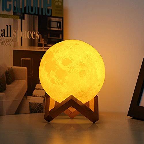 3D-maanlamp, USB-LED-nachtlampje, dimbaar bedlampje met wit/warme kleurregeling en houten standaard, beste cadeau voor kinderen & amp; vriendin op feesten en verjaardagen (12cm)