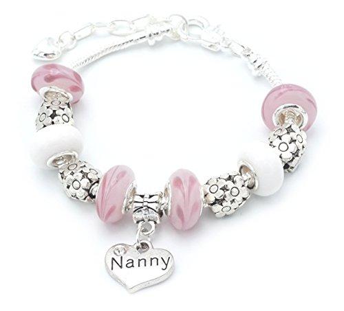 Nanny Birthday Charm Bracelet with Gift Box Womens Jewellery