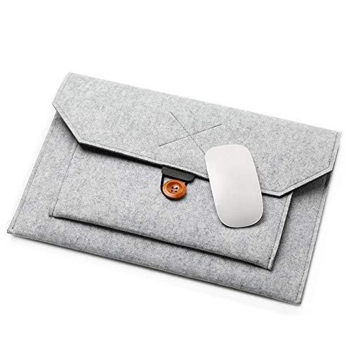 Yinghao Mode Wollfilz Laptop Sleeve Tasche Notebook Handtasche Fall für MacBook Air Pro Retina 11 12 13 15 Lenovo Asus HP Laptop Liner Bag@Hellgrau_15 Zoll 360x247mm