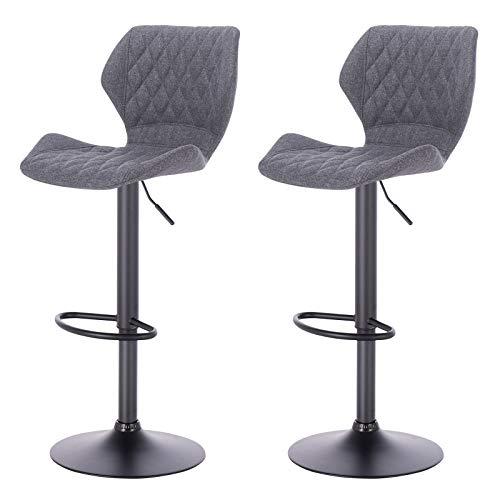 eSituro SBST0369-2 2 x Barhocker Küchenstuhl Barstuhl, höhenverstellbar & 360° drehbar, 2er Set Bar Hocker aus hochwertigem Leinen, Dunkelgrau