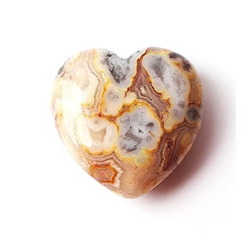 ABCBCA Forma Natural 1PC Loco ágata Colgante de corazón Collar de Piedras Preciosas Pulido Mineral Reiki Regalo Cristal (Color : Crazy Agate 2pcs)