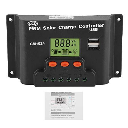 Controlador de carga solar, 12V / 24V LCD Controlador de carga solar Regulador de batería de salida USB dual para uso comercial en la industria doméstica(20A)