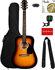 """Dreadnought body style Spruce top with """"X""""-bracing, basswood back and sides 20-fret walnut fingerboard Hardwood bridge with compensated saddle Gloss finish"""