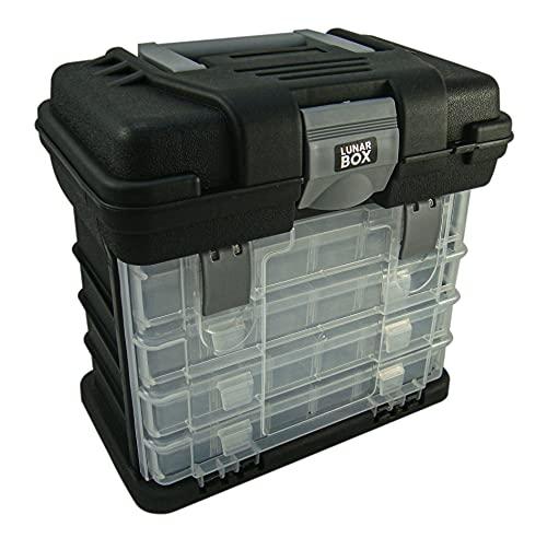Lunar Box, Custodia per Trasporto con 4 Cassetti Estraibili Multi-Scomparto Trasparenti E Regolabili, Scatola per Artigianato E Cucito (Nero)
