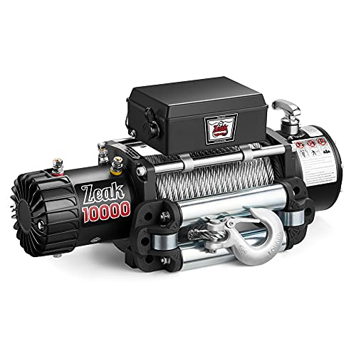 ZEAK 10000lb. Advanced Electric Power Winch, 12V DC Waterproof, for Truck SUV Off Road Auto Wire Cable, Galvanized