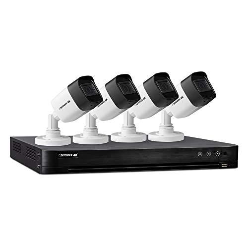 Defender 4k Ultra HD Security Cameras - Night Vision, Mobile Viewing, Motion Detection Cameras for Security - Outdoor Security Cameras for Home (4 Channel 4 Cameras 1st Gen)