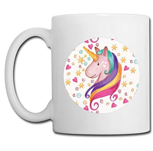 Linyatingoshop - Tazza con unicorno a forma di cuore e stelle, idea regalo per compleanno e bambini