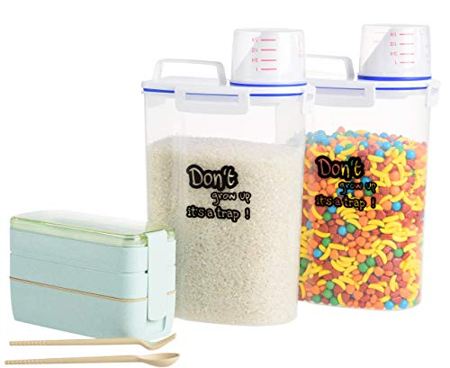 TWO FOR ONE DEAL: 2 Airtight Storage Jars BPA Free Food Storage Containers with Measuring Cup Sealed 4 Side Locked Lid For Rice Dispenser, Coffee, Pet Food + Bento Box Wheat Straw Plastic Jars