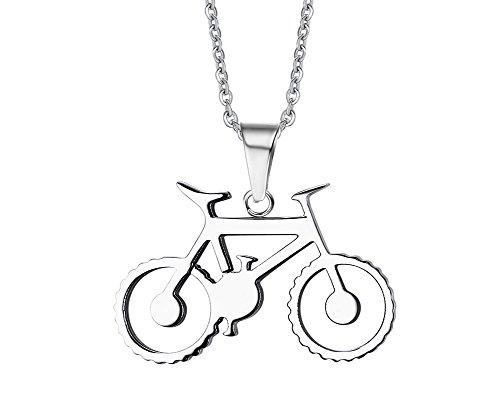 joielavie joyas 36,5mm colgante para bicicleta plata tono acero inoxidable pulido encanto Cool motorista de regalo para hombres mujeres (con bolsa de regalo)