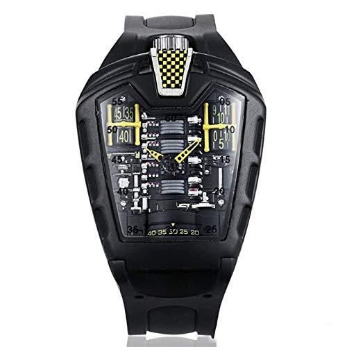 Haoooan Reloj Boys Reloj Hombre Reloj Negro Moda Reloj de Silicona Deportes de la Correa de los Hombres de los Relojes (Color : Yellow)