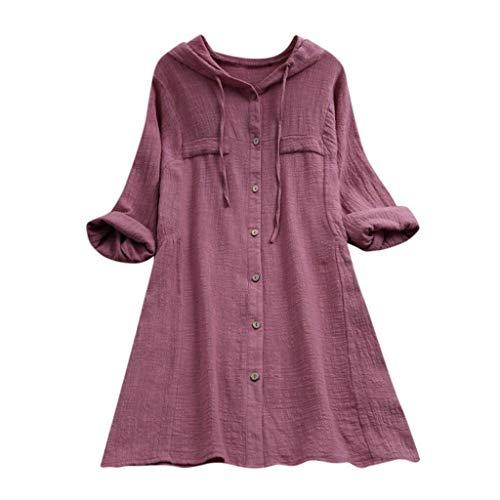 Camiseta De Lino De Botones Mujer Algodón para Modernas Casual De Color Sólido De Gran Tamaño Tops Sudadera con Capucha Mujeres Bolsillos Casuales Blusa Camisa De Manga Larga con Capucha