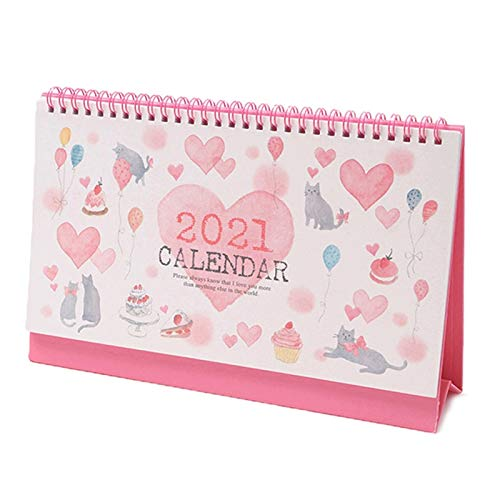 Calendario de Escritorio 2021 Calendario de escritorio Calendario de escritorio de dibujos animados del gato lindo Horarios Tabla calendarios Oficina Dormitorio del calendario de escritorio Escritorio
