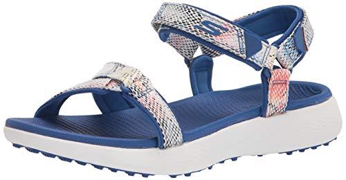 Skechers womens 600 Spikeless Sandals Golf Shoe, Blue/Multi Snake Print, 8 US