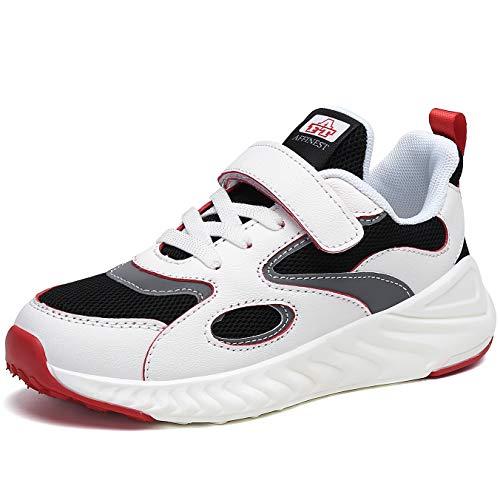 AFFINEST Kinder Sportschuhe Jungen Mädchen Turnschuhe Sneaker Leicht Laufschuhe Atmungsaktiv Hallenschuhe mit Klettverschluss,Rotweiß,36
