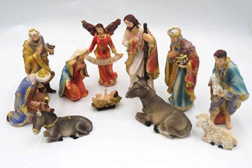 Magssdy Skulpturen 11 stück Weihnachten Krippe Set-Real Leben Krippen Harz Skulptur Hand Gemalt Tabletop Figur Statue